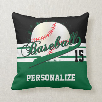 Baseball Sport   DIY Name & Number   Dark Green Cushion