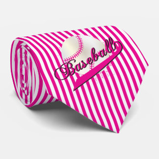 Baseball Sport in Hot Pink and White Stripes Tie