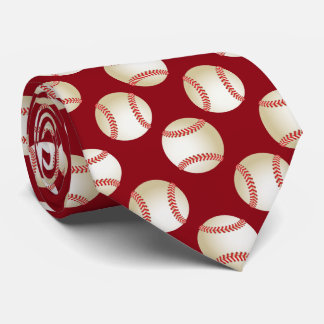 Baseball Sport Theme Pattern Coach Red Tie