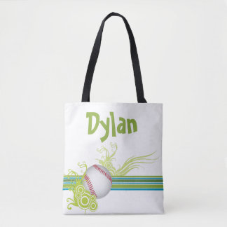 Baseball Sports Ball Game Personalized Name Tote Bag
