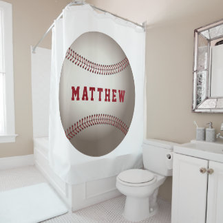 Baseball Sports Design Personalized Name Shower Curtain