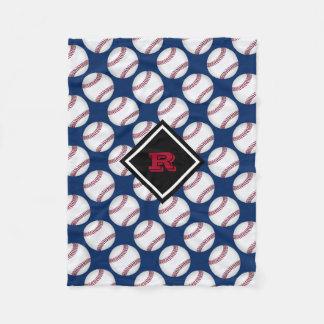 Baseball Sports Monogrammed Red White Blue Fleece Blanket
