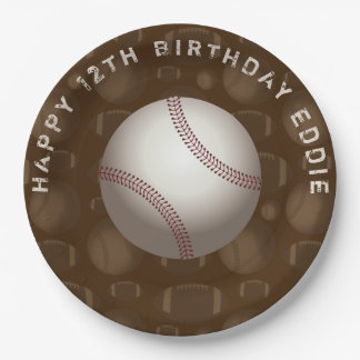 Baseball Sports Sons Boys Birthday Plates 9 Inch Paper Plate