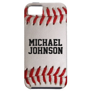 Baseball Sports Texture with Personalized Name iPhone 5 Covers