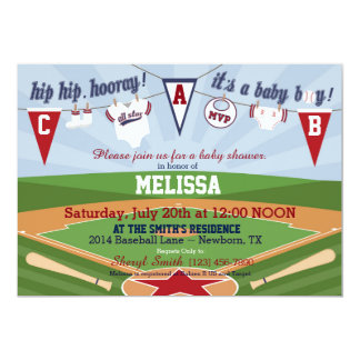 Baseball Sports Themed Baby Shower 13 Cm X 18 Cm Invitation Card