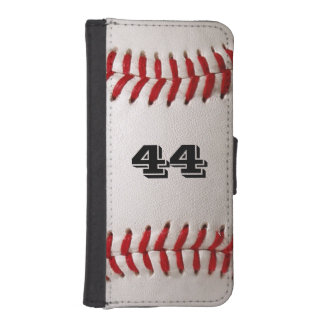 Baseball Sports with Custom Number iPhone SE/5/5s Wallet Case