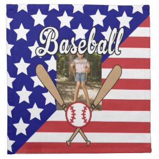 Baseball stars and stripes photo frame cloth napkin