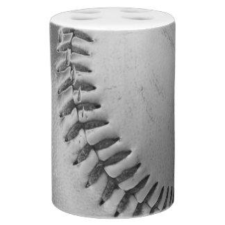 Baseball Stitches (black and white) Soap Dispenser And Toothbrush Holder