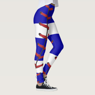 Baseball Stitches Blue and White Leggings