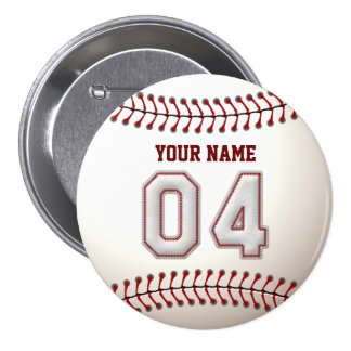 Baseball Stitches Player Number 4 and Custom Name 7.5 Cm Round Badge