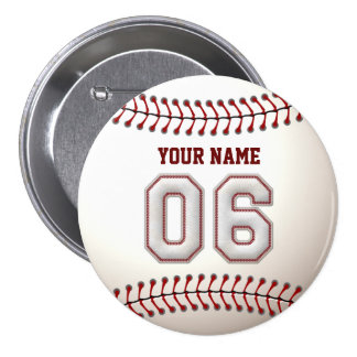 Baseball Stitches Player Number 6 and Custom Name 7.5 Cm Round Badge