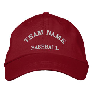Baseball Team Name Red  Hat Embroidered Baseball Caps