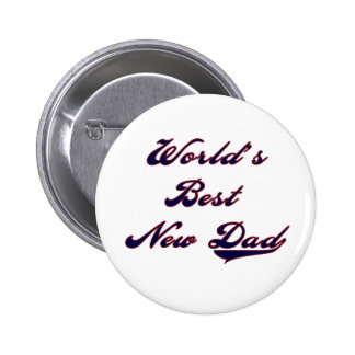 Baseball Text World's Best New Dad 6 Cm Round Badge