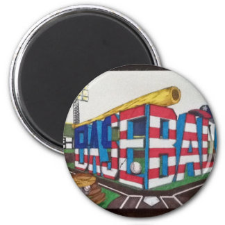 Baseball -the AMERICAN Game 6 Cm Round Magnet