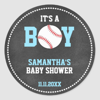 Baseball Theme Baby Shower Chalkboard Blue Boy Round Sticker