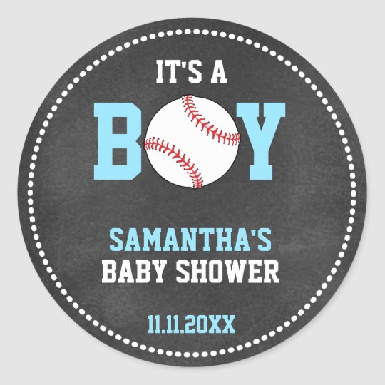 Baseball Theme Baby Shower Chalkboard Blue Boy Round Sticker