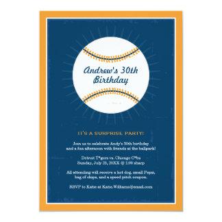 "Baseball Theme Birthday Invitations | Blue Orange 5"" X 7"" Invitation Card"