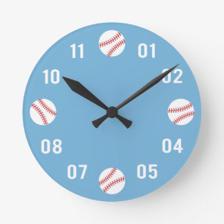 Baseball Theme Boys Room Round Wall Clock