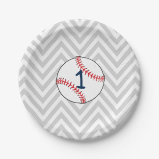 Baseball Theme First Birthday Paper Plates