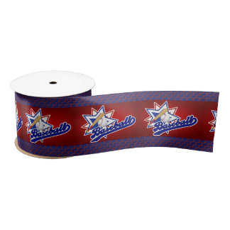 Baseball Theme in Red, Blue and White Satin Ribbon