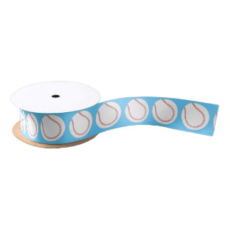 Baseball themed balls on blue ribbon satin ribbon