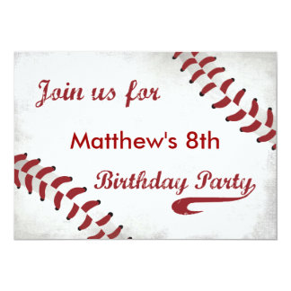 Baseball Themed Birthday Party Invitation