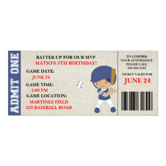Baseball ticket birthday invitation customizable