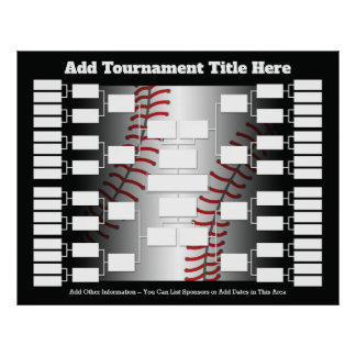 Baseball Tournament Bracket for 32 Teams Poster