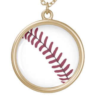 Baseball Tread Gold Plated Necklace