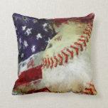 Baseball USA Throw Pillows