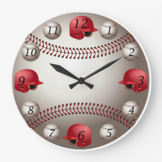 Baseball Wall Clock with Red Helmets