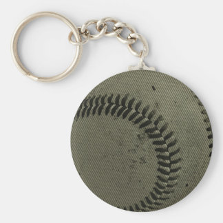 baseball weave basic round button key ring