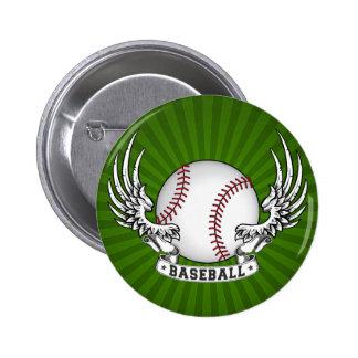 Baseball Wings Button