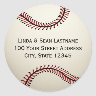 Baseball with Address Classic Round Sticker