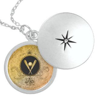 Baseball with baseball bat on a round botton locket necklace