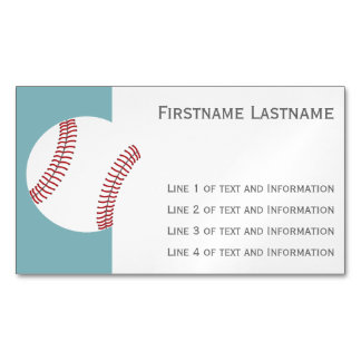 Baseball with Custom Name - Royal Blue Magnetic Business Cards