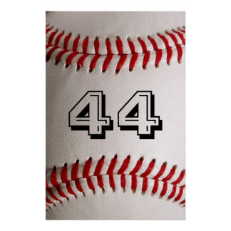 Baseball with customisable number poster