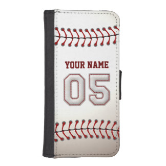 Baseball with Customizable Name Number 5 iPhone SE/5/5s Wallet Case