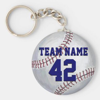 Baseball with Name and Number Key Ring