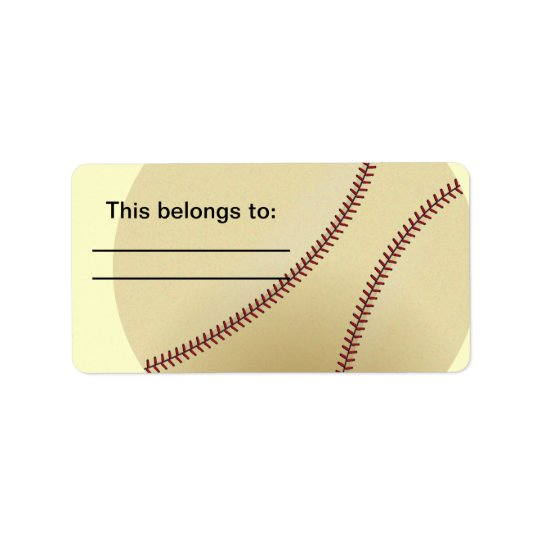 Baseball with red stitch label