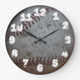 Baseball With White Numbers Large Clock