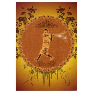Baseball Wood Poster