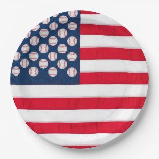 Baseballs & American Flag 9 Inch Paper Plate