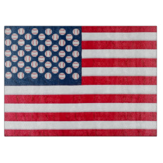 Baseballs & American Flag chopping board