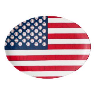 Baseballs & American Flag platter Porcelain Serving Platter