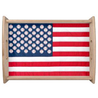 Baseballs & American Flag serving tray