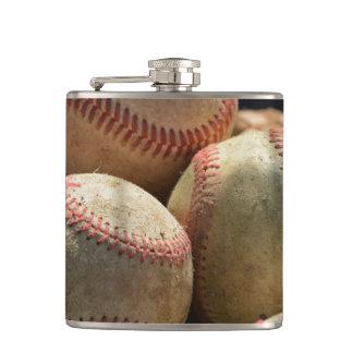 Baseballs and Glove Hip Flask