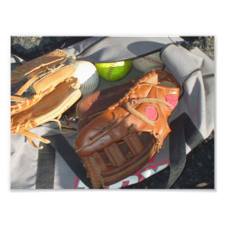 Baseballs and Mitts Photographic Print