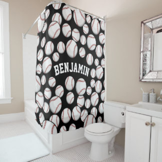 Baseballs By the Boatload Customized Name Black Shower Curtain