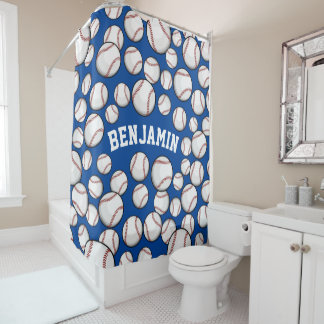 Baseballs By the Boatload Customized Name Blue Shower Curtain